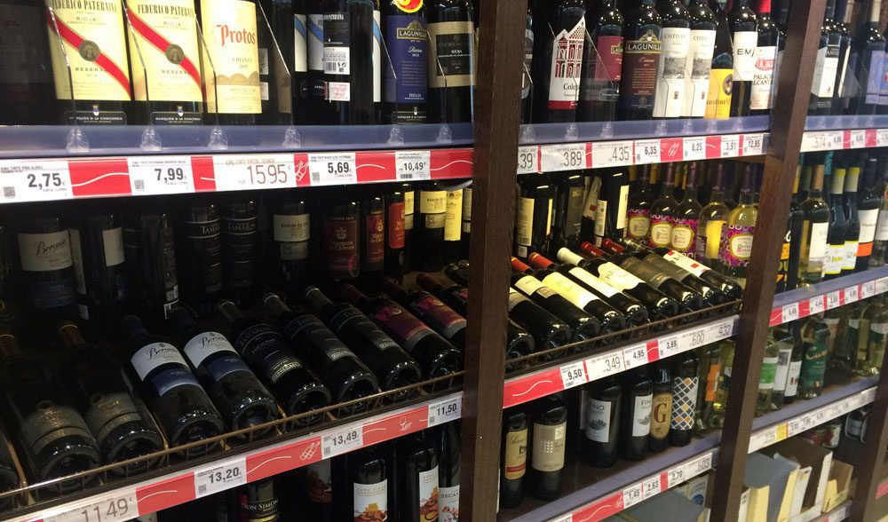 supermercado lineal vino